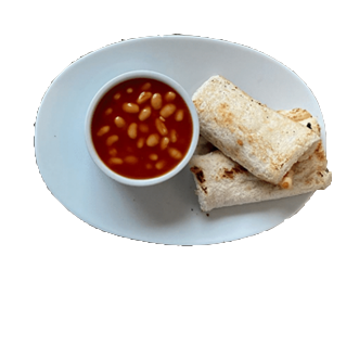 Cheese roll ups with Baked Beans recipe