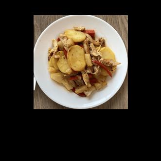 Jerk chicken and potato stir fry recipe